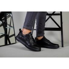 Кроссовки мужские кожаные черные на черной подошве