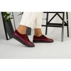 Женские бордовые туфли на шнурках 40