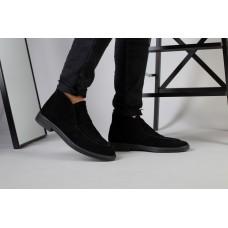 Лоферы мужские замшевые черные на кожподкладке