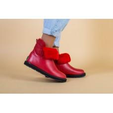 Женские красные кожаные угги