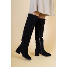 Женские черные замшевые ботфорты 38