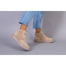 Ботинки женские замшевые бежевые на шнурках демисезонные