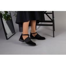 Женские черные замшевые туфли на низком ходу с резинкой