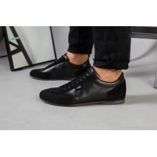 Кроссовки мужские черные кожаные 44