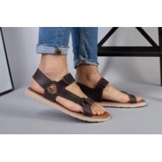 Мужские кожаные коричневые сандалии на липучке