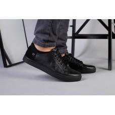 Мужские спортивные туфли черные, кожа с вставками нубука