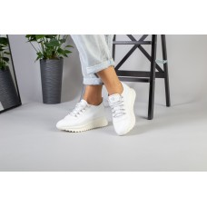 Женские кроссовки белые кожаные 41