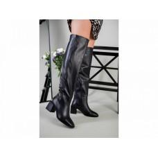 Ботфорты женские кожаные черные на каблуке зимние