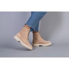 Ботинки женские замшевые бежевые, на шнурках, на байке