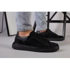 Мужские кроссовки из черного нубука с вставками кожи, 45