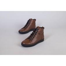 Ботинки мужские кожаные рыжего цвета на шнурках демисезонные