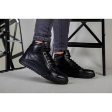 Ботинки мужские кожа флотар черного цвета зимние