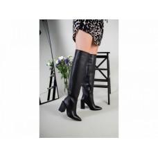 Ботфорты женские кожаные черные зимние на каблуке