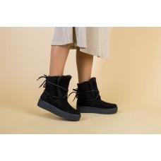 Женские черные угги со шнуровкой, 41