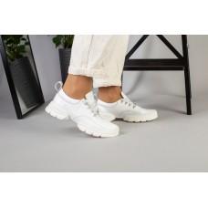 Женские белые кожаные кроссовки на белой подошве