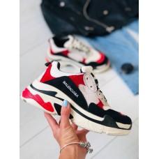 Женские кроссовки сетка с черными, красными, белыми вставками 38