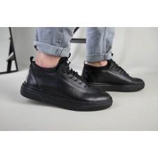 Кроссовки мужские кожаные черного цвета