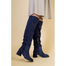 Женские синие замшевые ботфорты 40