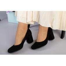Туфли женские велюровые черные на небольшом каблуке