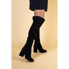Ботфорты женские замшевые черные на каблуке, зимние