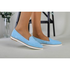 Замшевые балетки голубого цвета