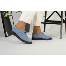 Женские голубые туфли на шнурках