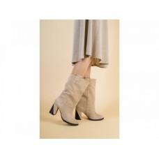 Женские демисезонные сапоги замшевые, цвет песочный, 36