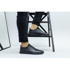Мужские черные кожаные спортивные туфли 43