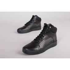 Мужские зимние кожаные черные ботинки, 41