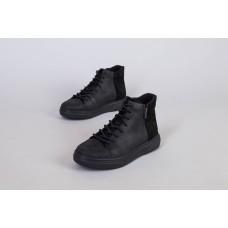 Ботинки мужские кожаные черные с замшевой вставкой демисезонные