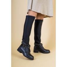 Женские демисезонные черные сапоги, кожа и обувной стрейч 39