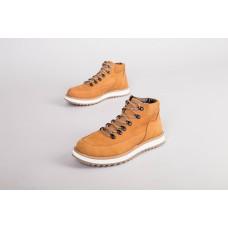 Мужские желтые зимние ботинки из нубука на шнурках