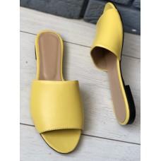 Женские желтые кожаные шлепанцы
