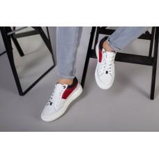 Кеды мужские кожаные белые с вставками черной и красной замши
