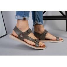 Мужские кожаные сандалии цвета хаки на липучке