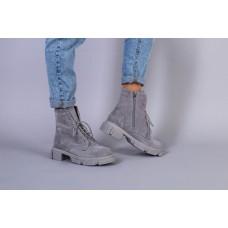 Ботинки женские замшевые серого цвета на шнурках и с замком