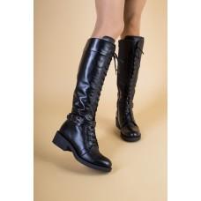 Женские зимние черные кожаные сапоги на замке и со шнуровкой, 41