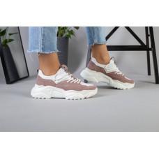 Женские пудровые замшевые кроссовки с вставками белой кожи