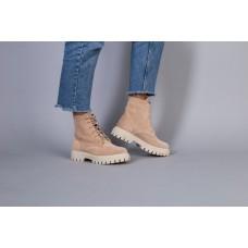 Ботинки женские замшевые бежевые, на шнурках и с замком, на байке