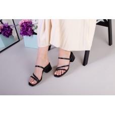 Сабо женские кожаные черные, каблук 4 см