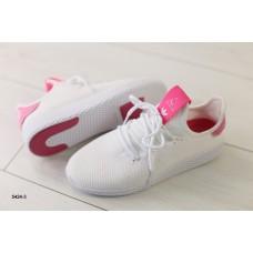 Женские кроссовки в сеточку, белые с розовыми вставками 39