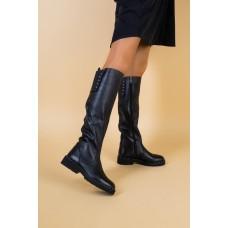Женские зимние кожаные сапоги черные 40