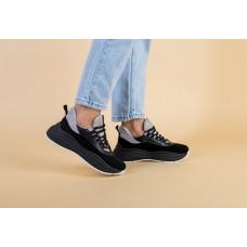 Женские кроссовки замшевые на массивной черной подошве черно-серые 40