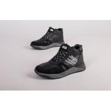 Ботинки мужские кожаные черные с вставками замши, зимние