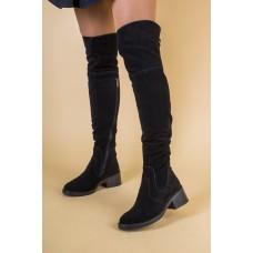 Ботфорты женские замшевые черные на небольшом каблуке, зима