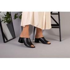 Женские сабо на каблуке, черные кожаные 38