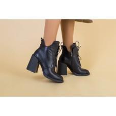 Ботильоны женские кожаные черные, на шнурках и замком, на байке