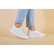Женские белые кроссовки кожаные с перфорацией, 38