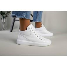 Женские белые кожаные кеды на шнурках