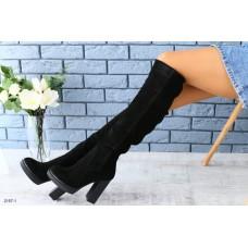 Зимние натуральные замшевые сапоги ботфорты на каблуке черные 40